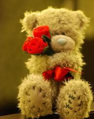 Obrazek: Misiek z różami w łapkach