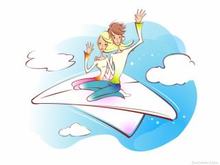 скачать обои Полет на крыльях любви.